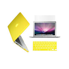 "3 in 1 Rubberized YELLOW Case for Macbook PRO 15"" + Keyboard Cover + LCD Screen"