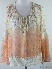 TAYLOR & SAGE XL Peach and White Ombre Lace Boho Sheer Floral Tunic Top