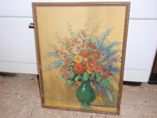 VINTAGE FRAMED PRINT FLOWERS IN VASE GUSTAV WIEGAND 16 1/2 X 12 3/4 INCHES