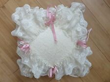 Vintage ivory & white lace pillow pink ribbon flowers