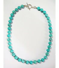 """Classic Large 19"""" Genuine 10mm Round Turquoise Bead Sterling Silver Necklace"""