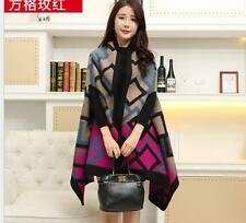 Women Cashmere Scarf Patchwork Plaid Poncho Cape Poncho Wrap Shawl Blanket Cloak
