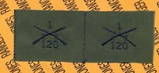 US Army 1st Bn 120th Infantry Regiment Branch OD Green & Black sew on patch set
