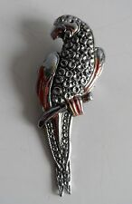 Vintage 30/40s Staybright Silver Tone Faux Marcasite Parrot Bird Brooch
