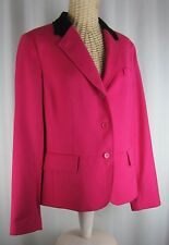 $199 Talbots Hot Pink Black Velvet Collar Wool Blazer Lined Size 14 Classic