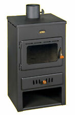 New 8+4 kW. Multi Fuel Wood Burning Stove With Back Boiler Modern Prity K1W8