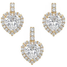 GOLD PLATED CZ HEART .925 Sterling Silver Earring & Pendant Gift Set
