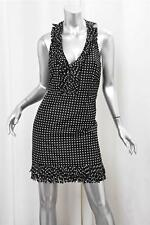 OSCAR DE LA RENTA Womens Black Polka-Dot Silk Fringe Halter Shift Mini Dress 12