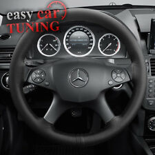 FOR MERCEDES C CLASS W204 BLACK GENUINE REAL LEATHER STEERING WHEEL COVER