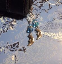 2X~Crystal Moon Charms~Zipper Pull~Clip on Wallet/Purse/Cell Phone Case~$1 SHIP