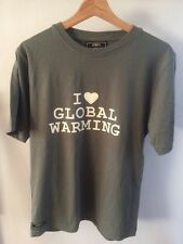 "Iiwii Green T Shirt ""I Love Global Warming""'Slogan Men's Size S   T1628"