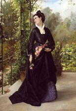 Oil painting Edward Charles Barnes Young woman holding spring flowers in garden