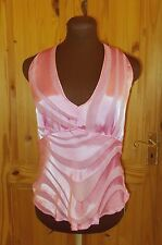 PLANET pink silk chiffon v neck sleeveless camisole vest tunic evening top 14 40