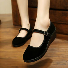 Womens Ladies Mid Wedge Heel Mary Jane Hotel Work Strap Shoes Ballet Cotton Flat