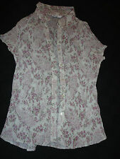 "Vertical Crimped Short Sleeve Floral Shirt - BHS - Size 16 - NWOT - 40-42"" Chest"