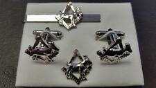 Masonic Goat on Square and Compasses Silver Plated Tie slide/ lapel pin set Myth