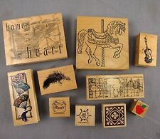 Rubber Stamps Lot of 10 Mounted on Wood Scrapbooking Card Making Paper Crafts
