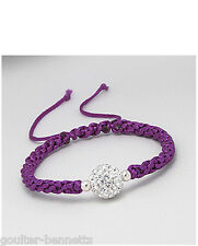 Purple Mauve Friendship Bracelet With Rhinestone and Sterling Silver Beads