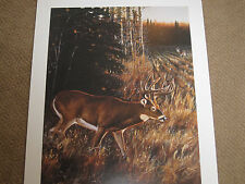 """ SLIPPING UP THE BACK TRAIL  ""  - Deer Hunting Print by Desmond  McCaffrey"