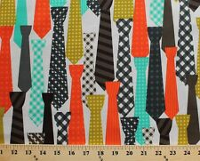 Ties Colorful Neckties Clothing White Cotton Fabric Print by the Yard D764.04