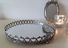Vintage Style Mirror Tray with Silver Lace Edge, Candle Plate, Votive, Trinkets