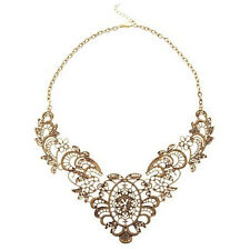 New Vintage Hollow Statement Bib Choker Chain Pendant Chunky Necklace Jewelry