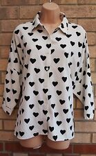GLAMOROUS HEART PRINT WHITE OVERSIZE BAGGY  BLOUSE TOP T SHIRT TUNIC VEST 10 S