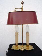 Lampe bouillotte bronze doré abat-jour tôle peinte