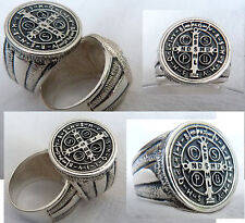 St Benedict Exorcism Ring Demon Protection Ghost Hunter  925 SILVER