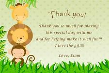 30 Custom Thank You Card Notes Jungle Baby Boy Shower Birthday Party Animals