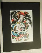 "Matted Print Ed Hardy Tatoo Art Eagle and Skull  8 x 10"" Sealed Red Mat"