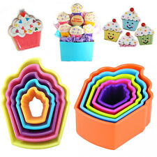 5* Muffin Cookie Cutter Cup Cake Shape Decor Bake Pastry Biscuit Plastic Moulds