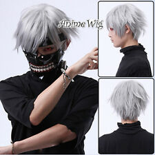 30cm Short Silver Grey Straight Tokyo Ghoul Jin Muyan Anime Cosplay Hair Wig+Cap