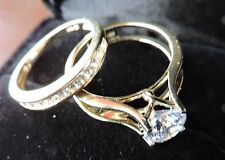 1.75ct 14k Yellow /White Gold Round Engagement Ring and Wedding Band 2 Piece Set
