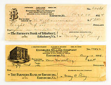 2 diff. styles most 1920's Virginia bank checks
