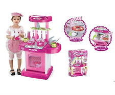 "26"" Portable Kitchen Appliance Oven Cooking Play Set With Lights & Sound Pink"
