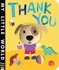 Thank You-NEW board book My Little World with attached cute puppy finger puppet