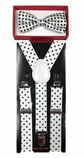White with bk dot toddler bow tie and suspenders set - baby boy/girl Accesorries