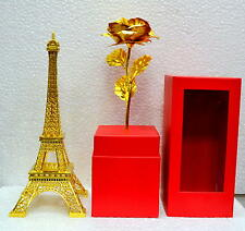Barry & Dion 24 K Gold Rose with Gold Eiffel Tower Gift Set|Roses|Showpiece