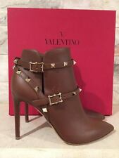 NIB Valentino Rockstud Brown Tan Leather Buckle Ankle Heel Bootie Shoe 36 $1375