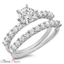 3.10 Carat Round Cut Solitaire Engagement Ring band set 14k White Gold Bridal