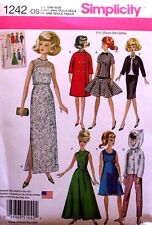 "11 1/2""  FASHION DOLL CLOTHES Simplicity Sewing Pattern 1242 NEW Uncut."