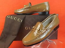 NIB GUCCI LIGHT BROWN FRAME 1953  PATENT LEATHER GOLD HORSEBIT LOAFERS 38 8 $575