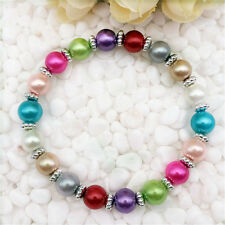 Wholesale fashion jewelry Mix 8 mm glass pearl stretch beaded bracelet DIY