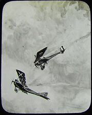 Glass Magic Lantern Slide WW1 DOGFIGHT DRAWING NO2  AEROPLANES WORLD WAR ONE