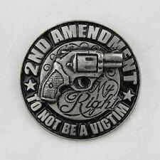 Biker Chopper 2nd Amentment Not a Victim Revolver Gun Pin Anstecker Anstecknadel