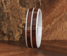 White Ceramic 6mm Double Row Koa Wood Wedding Ring