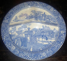 """W.R. Midwinter Blue Transferware """"Landscape"""" 11"""" Courting Scene Divided Plate"""