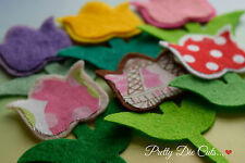 Felt and Fabric Tulips Pack of 6 Flowers Die Cut Floral Craft Embellishments