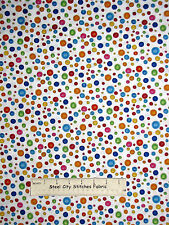 Loralie Button Fabric - Sewing Sew Fabulous Multicolor Buttons 986 White - YARD